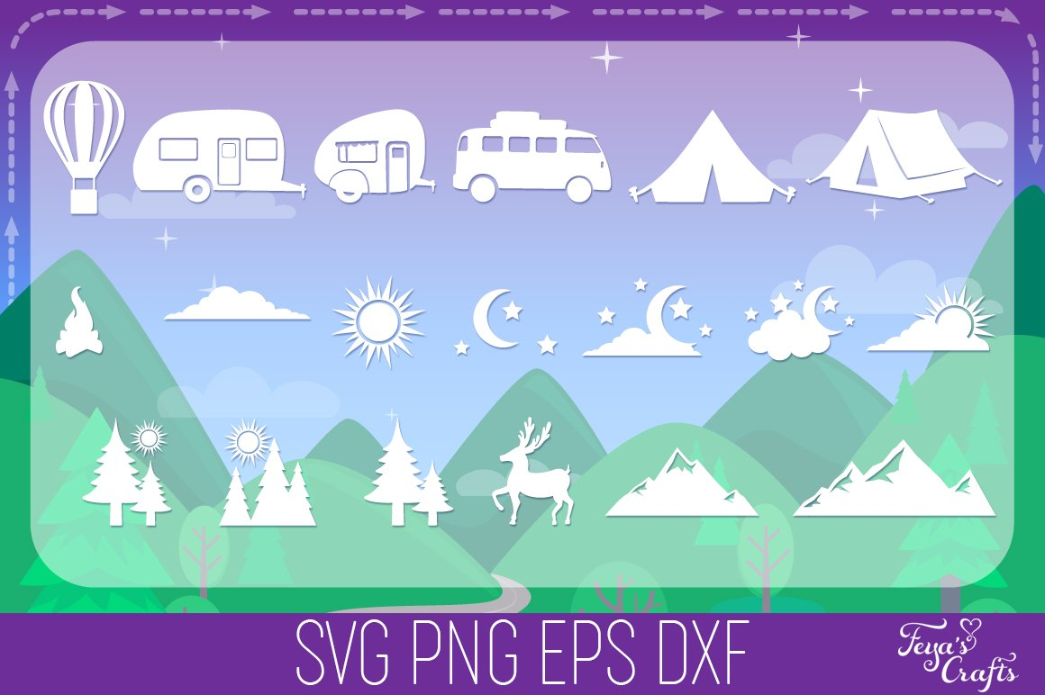 Camping SVG Alphabet, Camper SVG, Camping SVG Files Pack example image 7