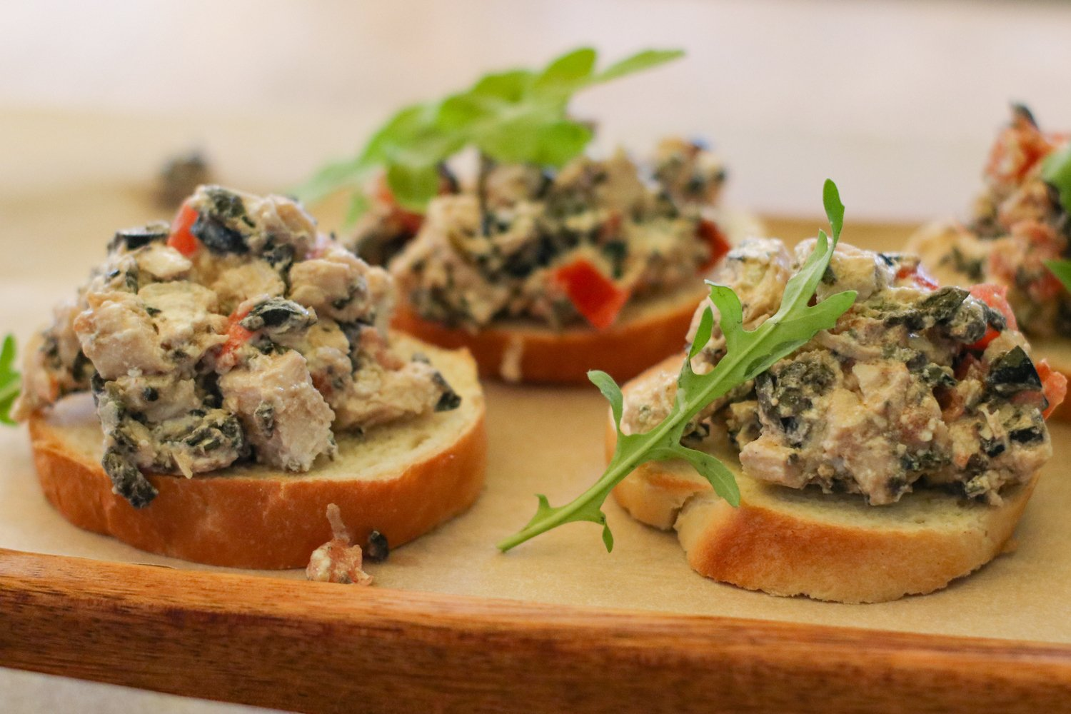 sandwiches with mushrooms and ham and arugula for a snack example image 1