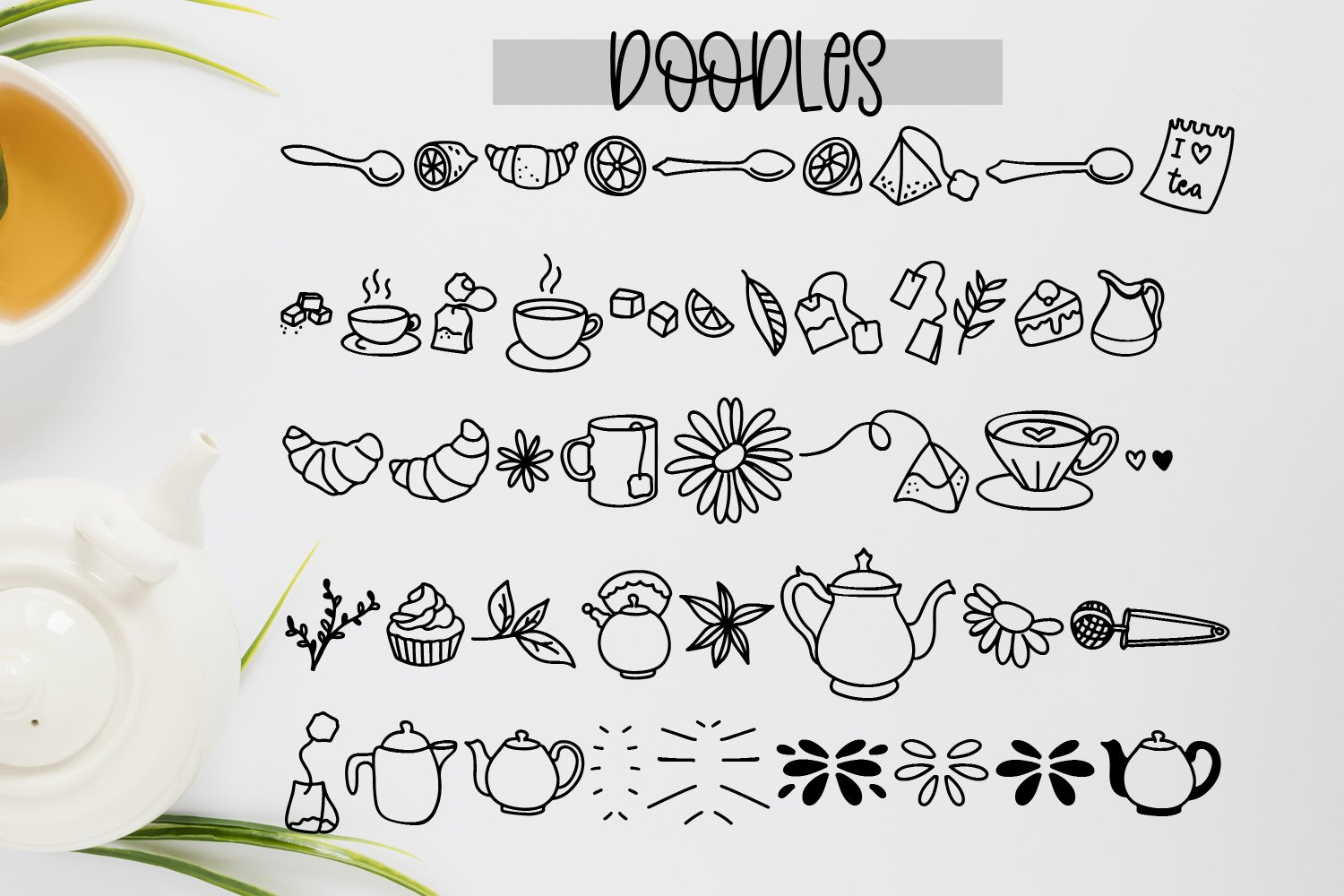 Teashop Font Duo With Tea Inspired Doodles example image 2