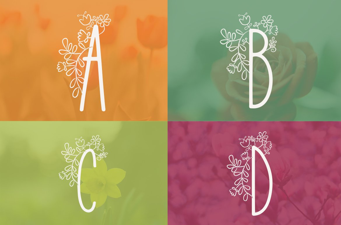 Lily Bloom Flowery Font example image 4