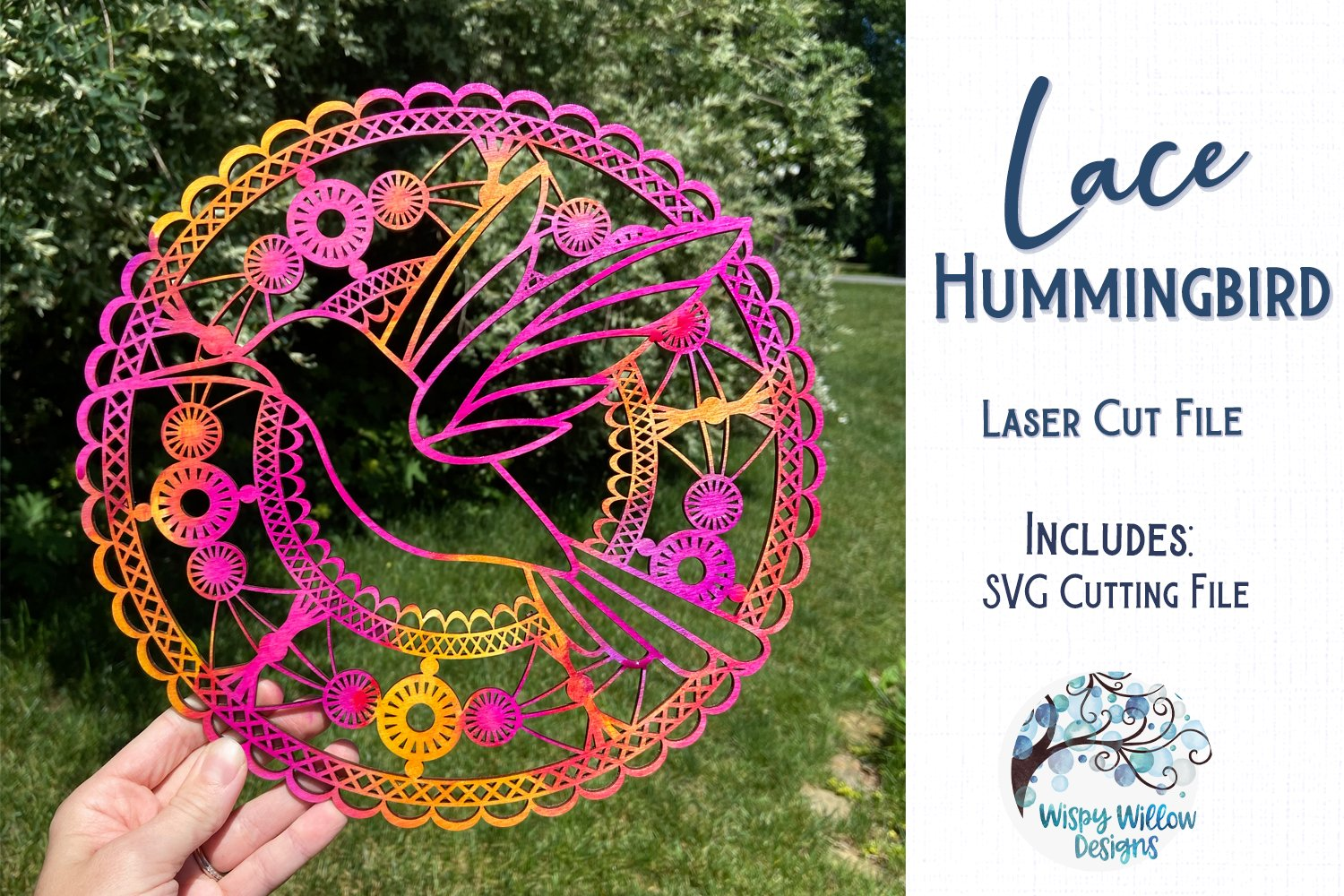 Lace Hummingbird Mandala for Glowforge or Laser Cutter example image 2