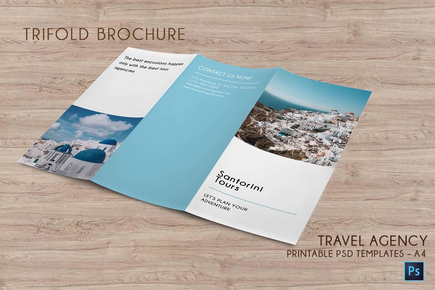 Trifold Agency Travel Brochure Editable PSD Templates example image 2