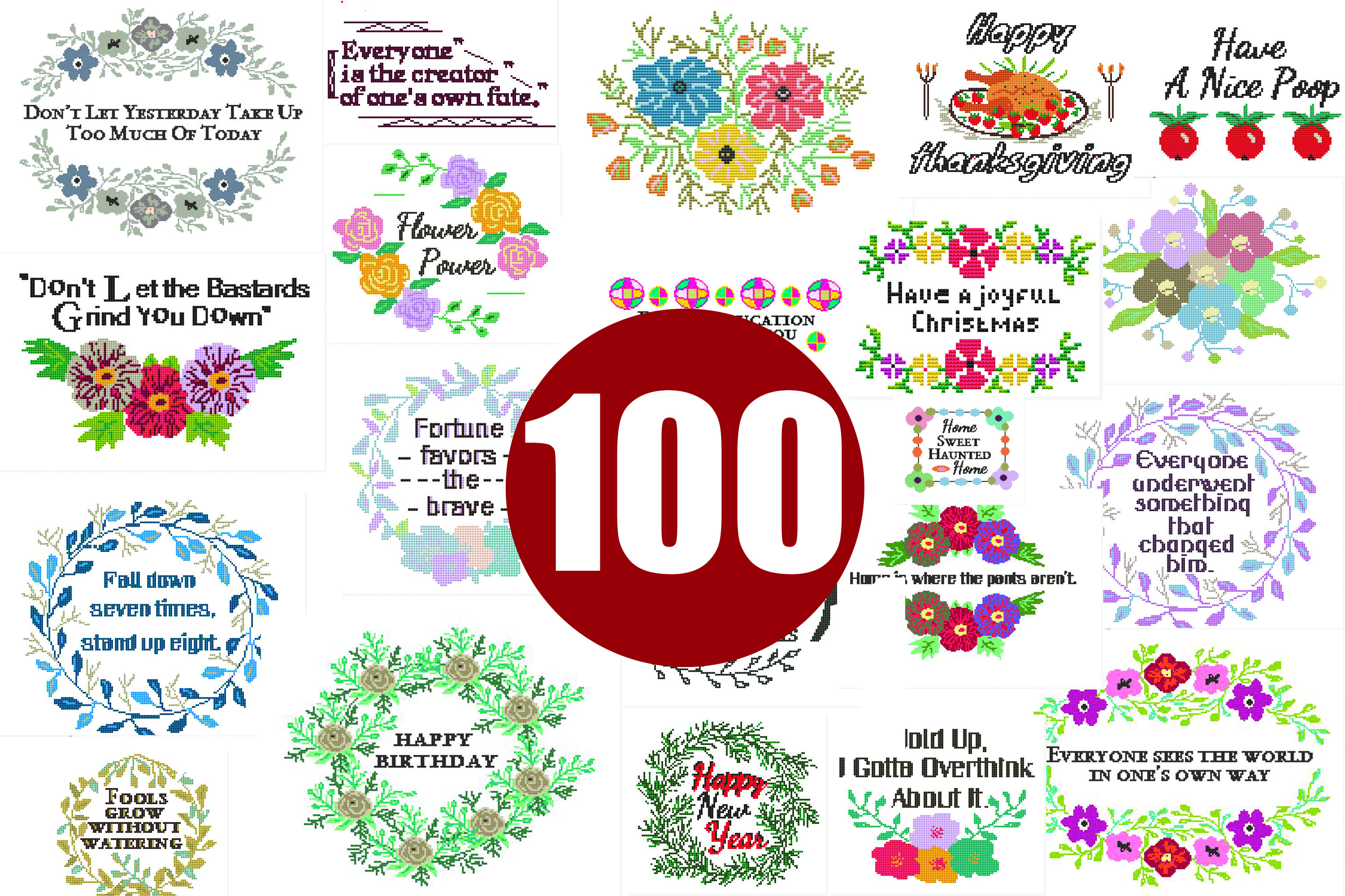 100 Cross stitch patterns PDF - INSTANT DOWNLOAD example image 2