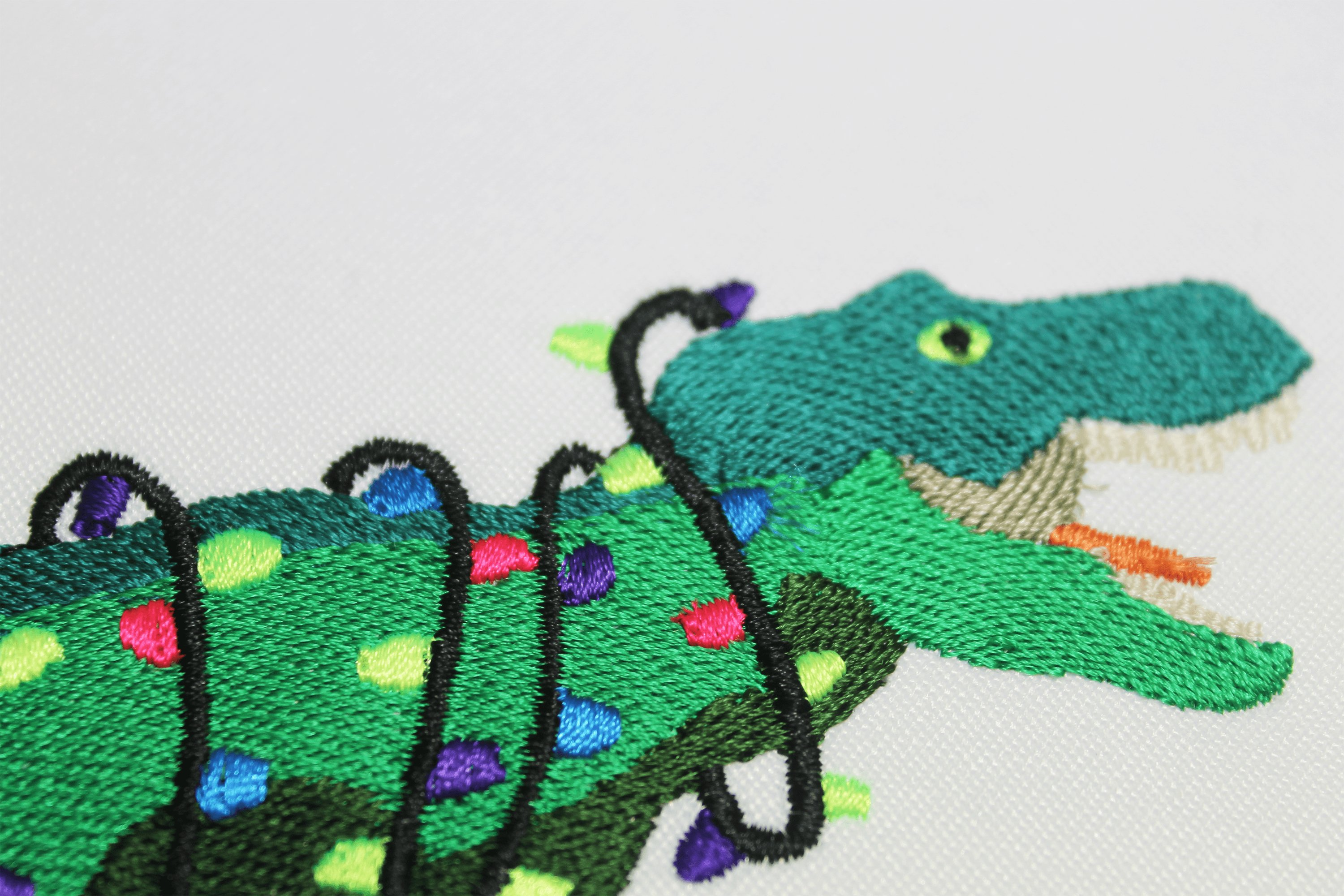 Christmas T-rex Embroidery 5 sizes, Tree-Rex with Lights example image 2