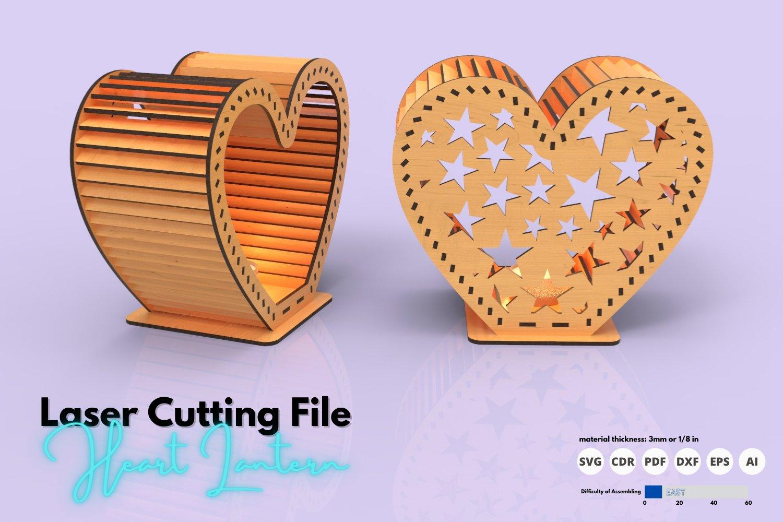 Heart Lantern - laser cutting file example image 2