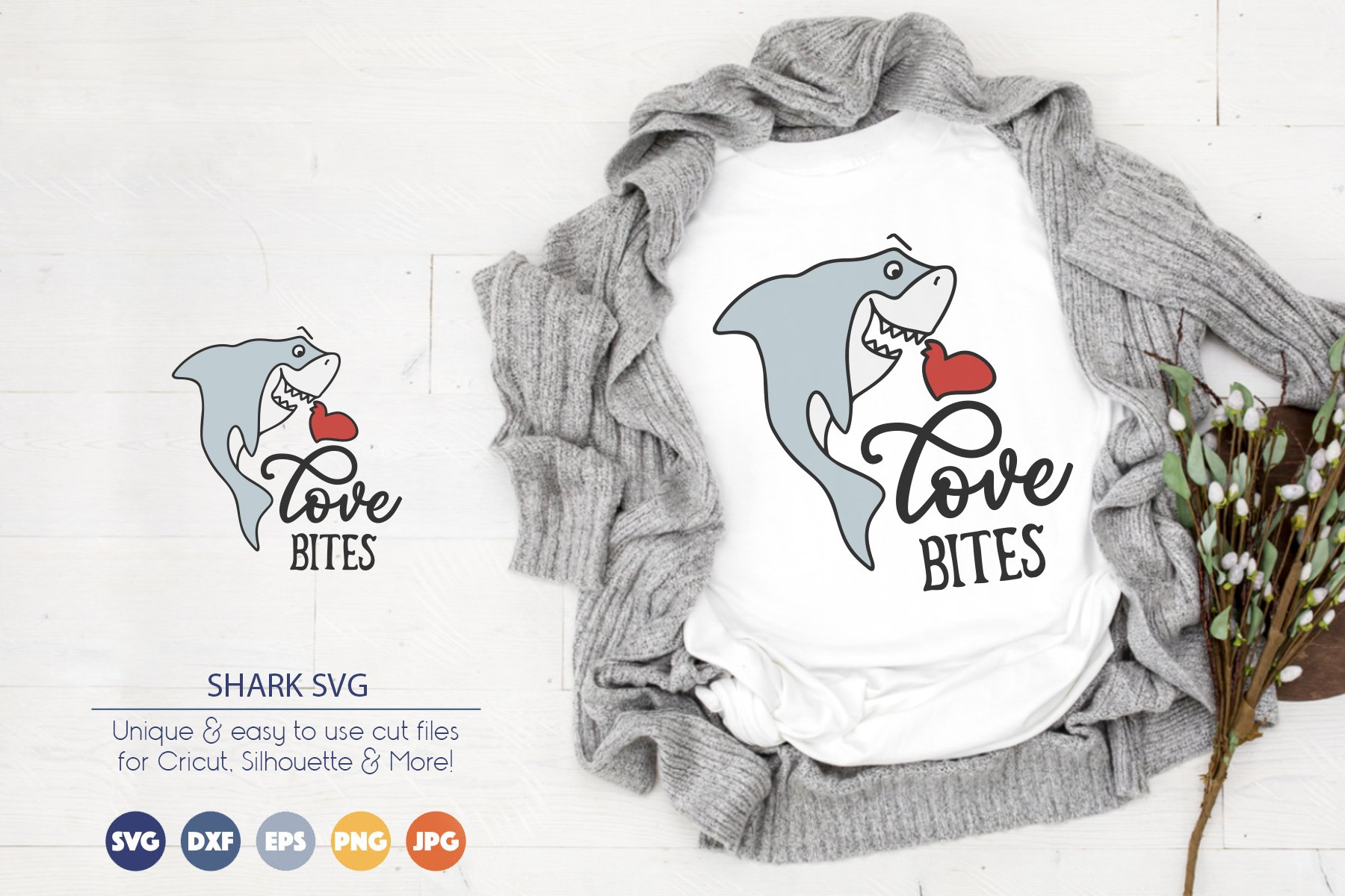 Cute Shark SVG | Love Bites SVG Cut File example image 1