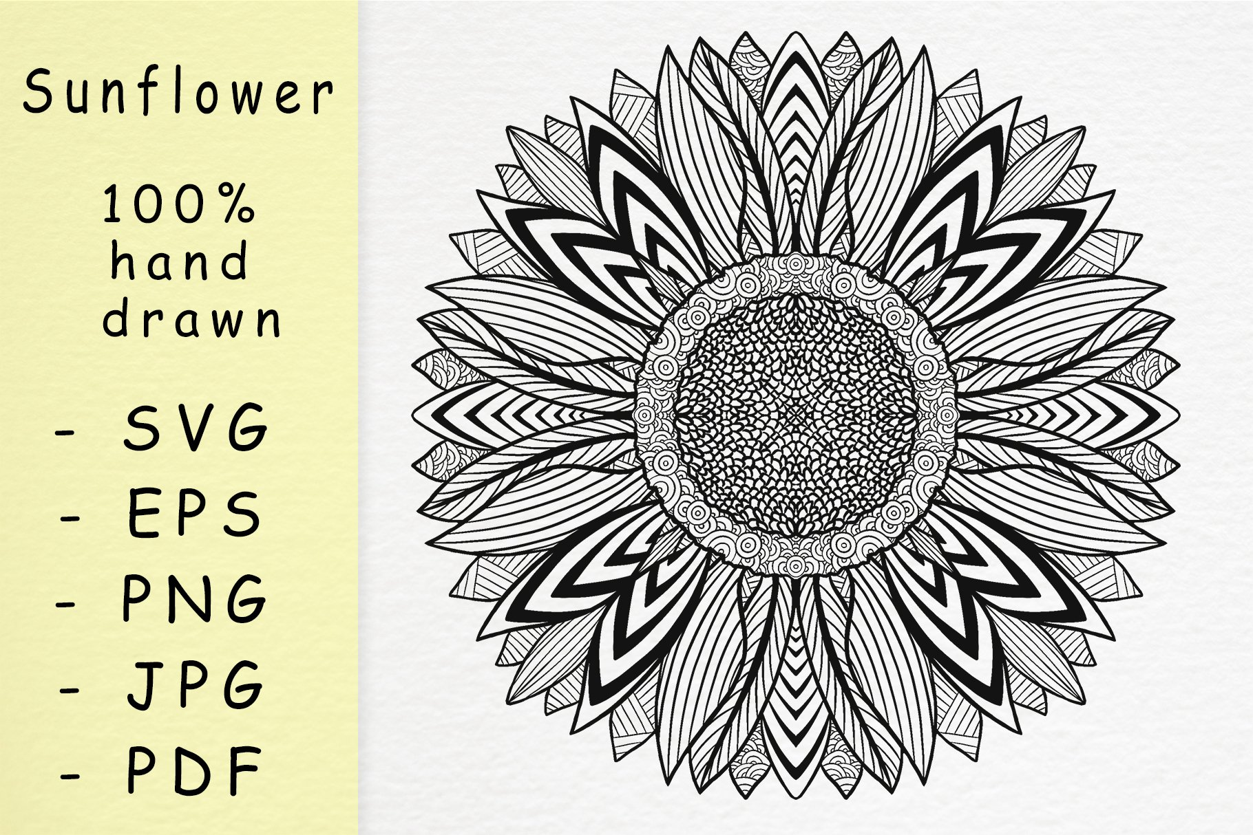 Hand drawn sunflower with patterns example image 1