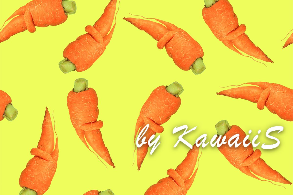 Funny deformed carrots seamless pattern on yellow background example image 1
