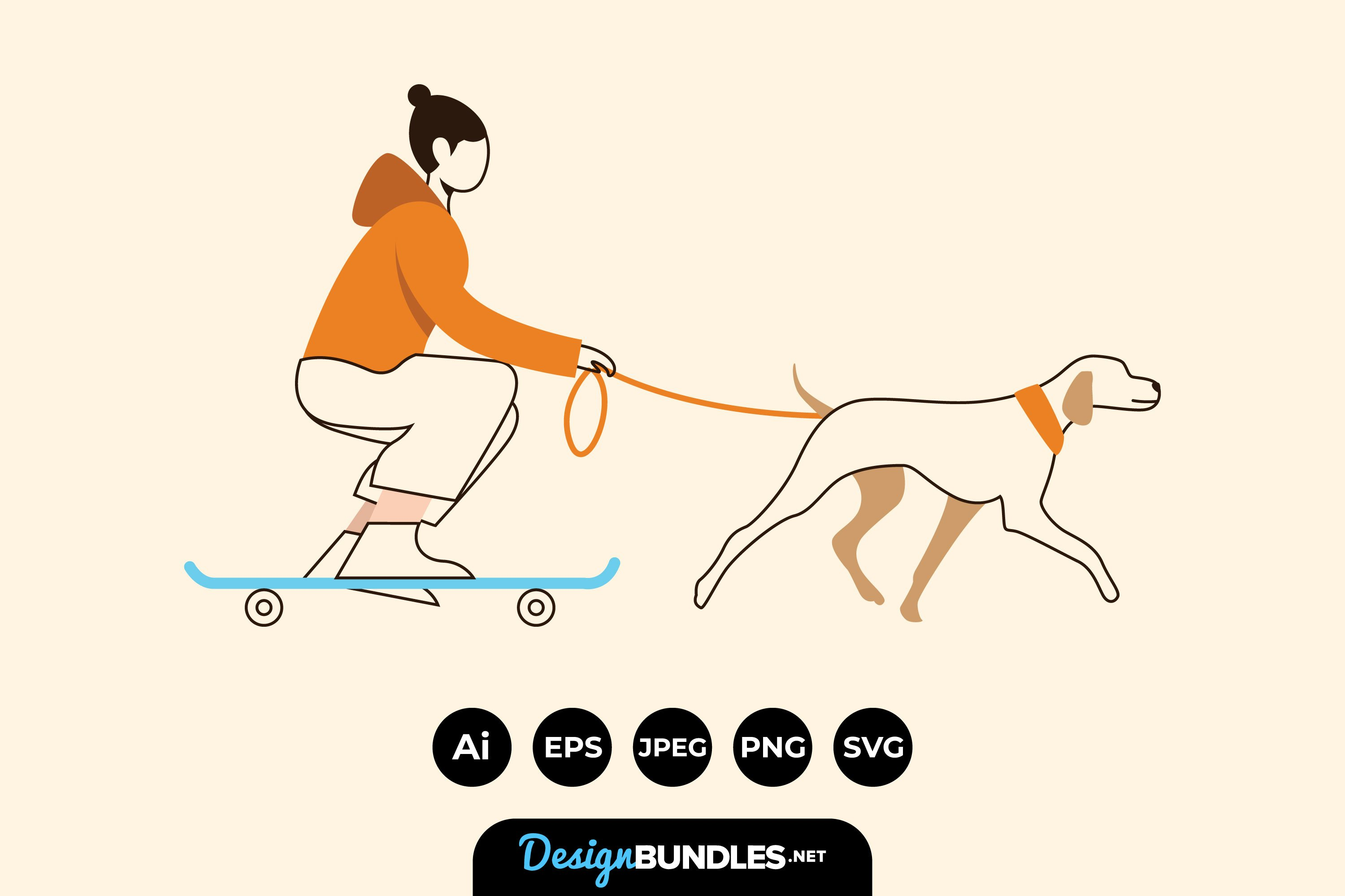 Walking The Dog Illustrations example image 1