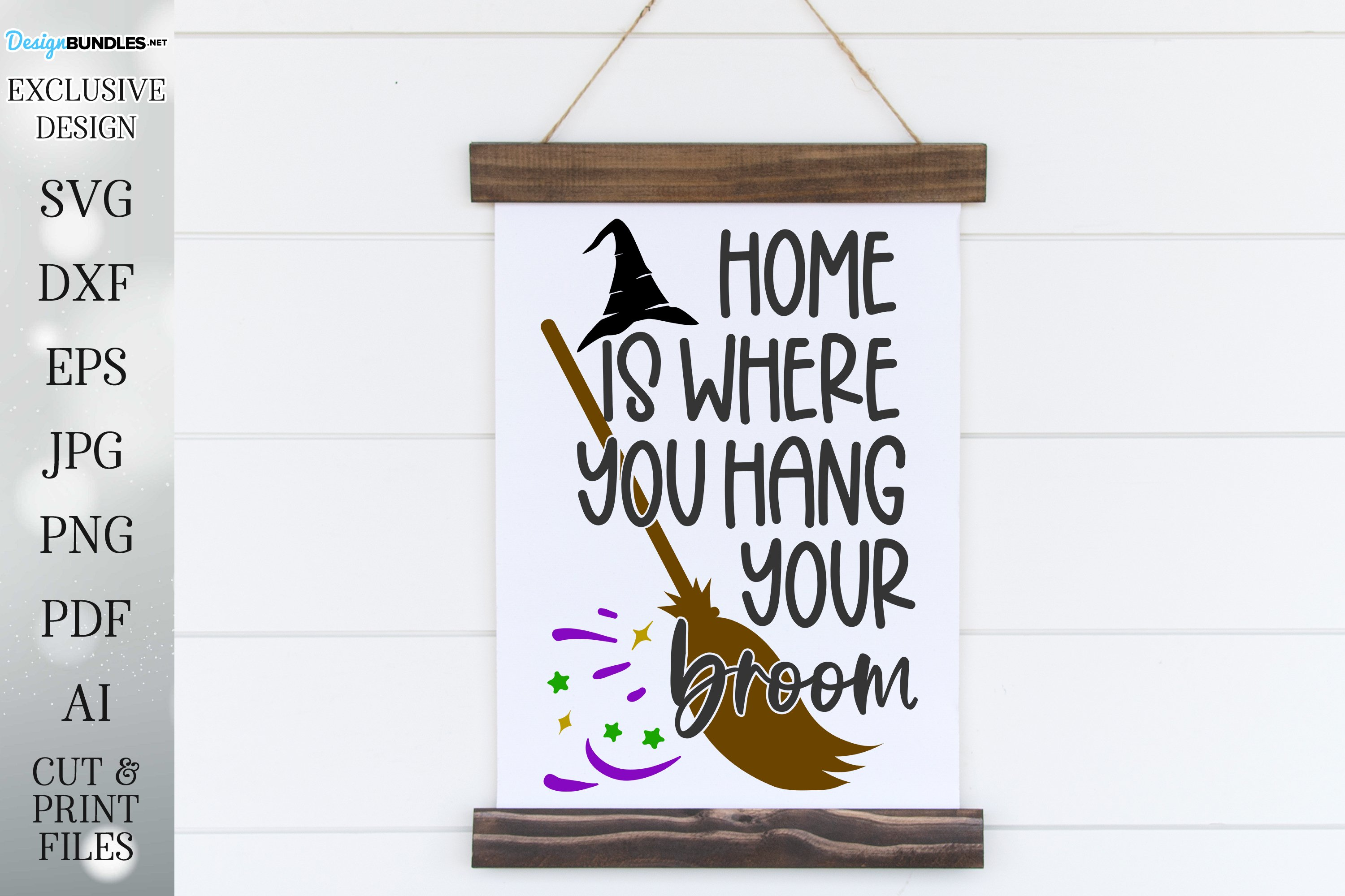 Home Is Where You Hang Your Broom - Halloween Design example image 1