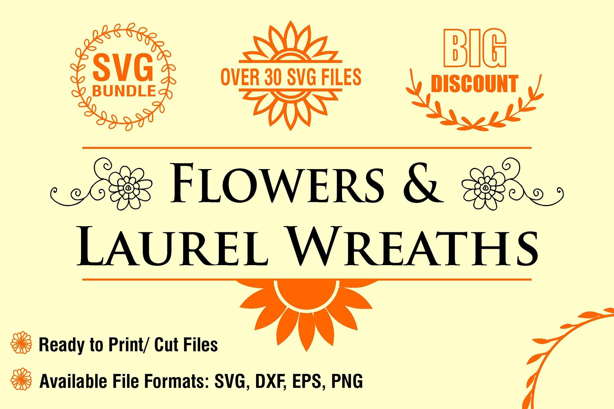 Flowers and Laurel Wreaths SVG Bundle example image 1