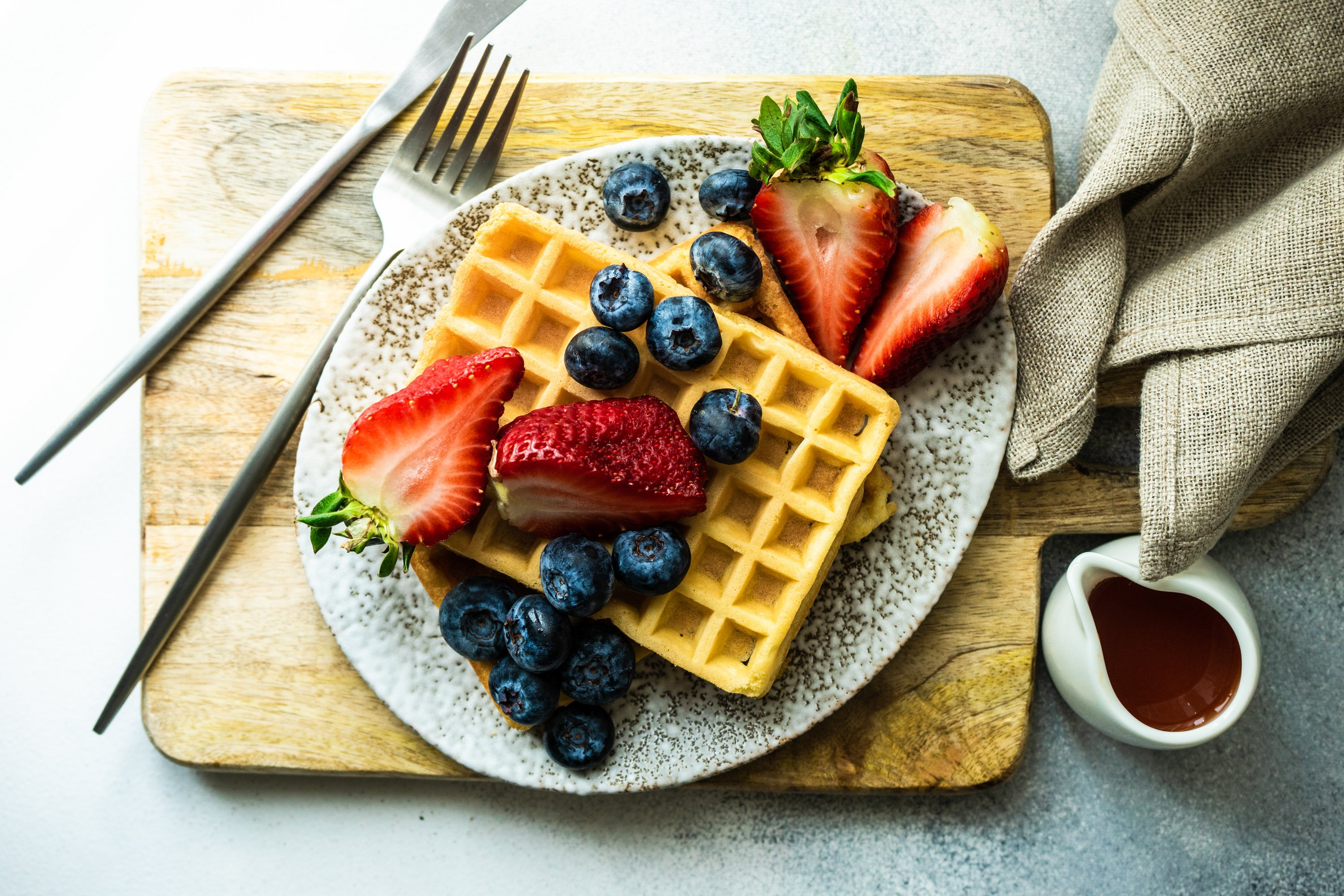Traditional european breakfast with waffles example image 1