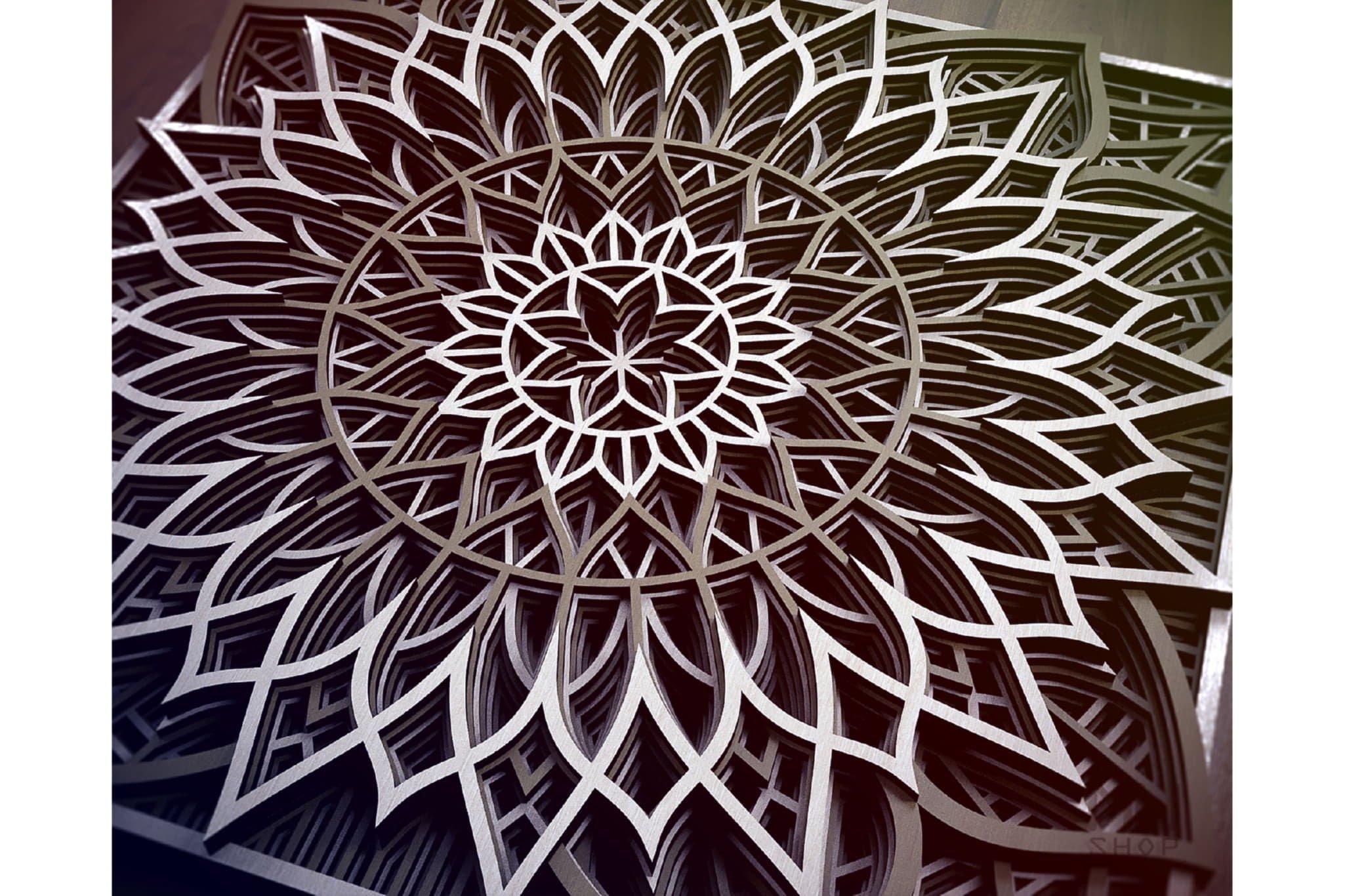 M94 - Flower Mandala DXF file, Multilayer Mandala SVG example image 7