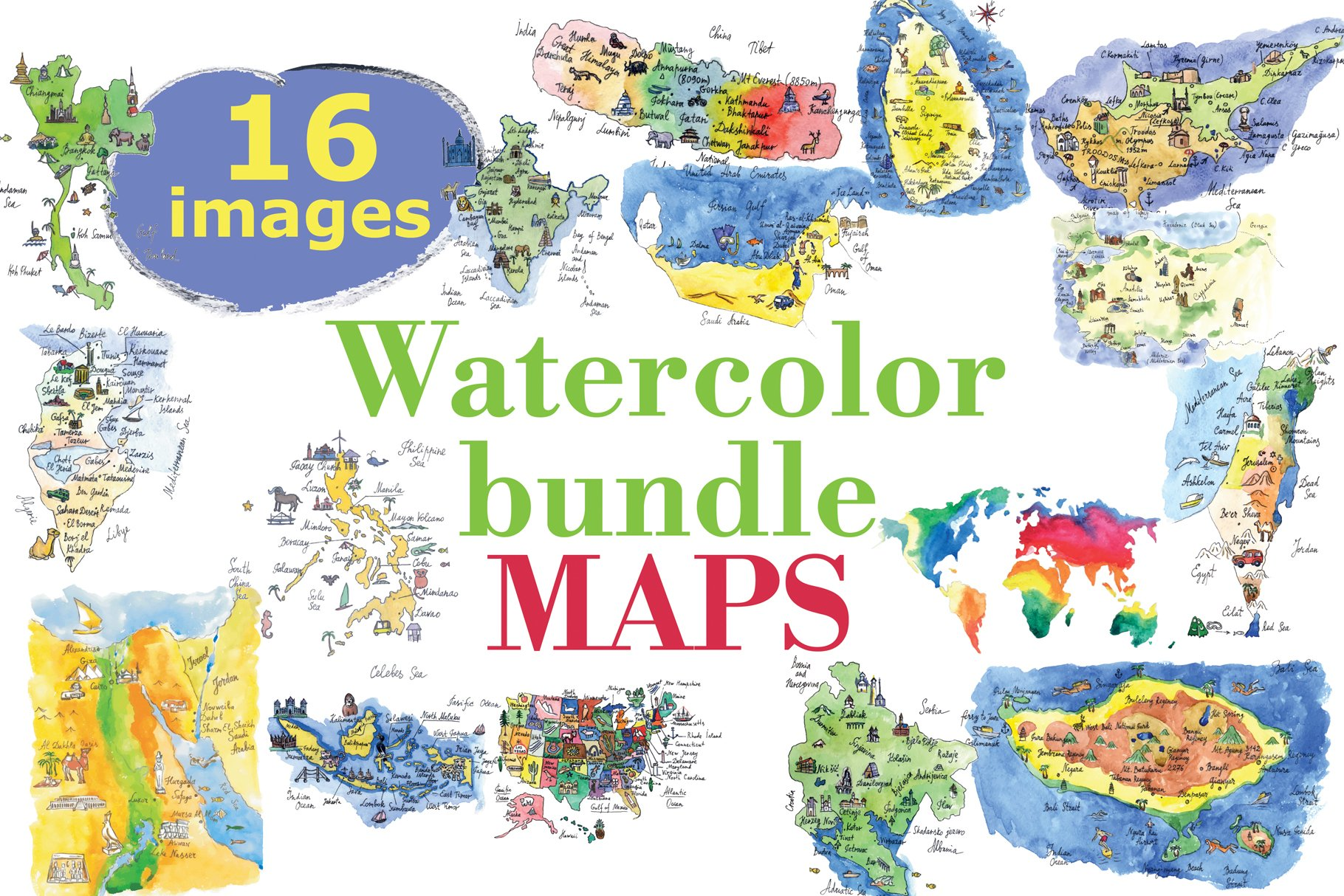 Watercolor bundle maps example image 1