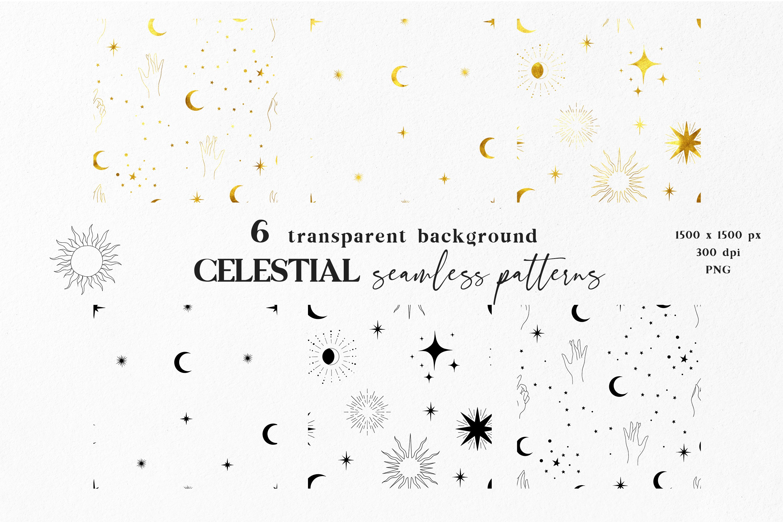 Moon digital paper, Celestial seamless pattern example image 6