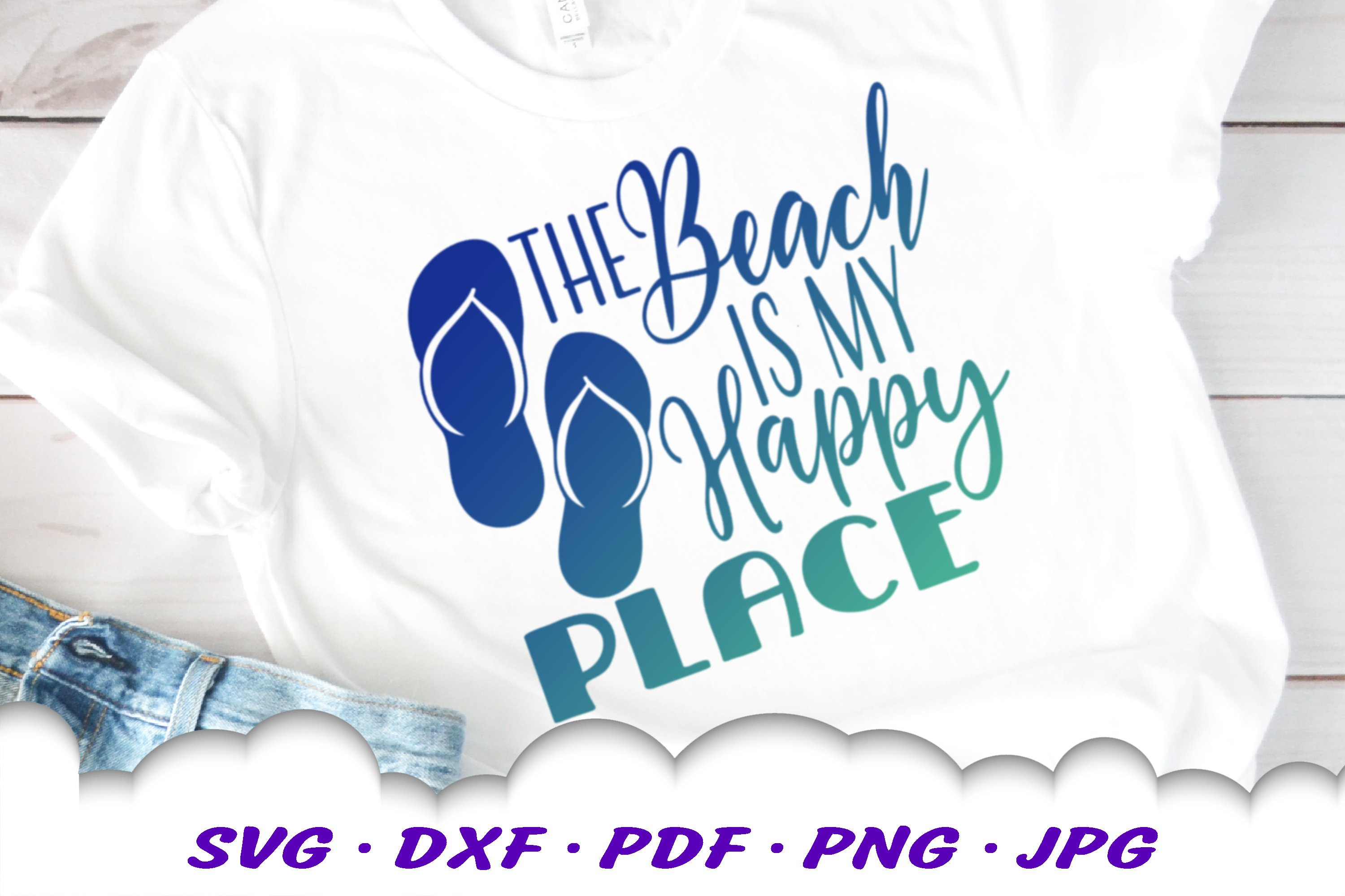 The Beach Is My Happy Place SVG Flip Flops Cut Files example image 2
