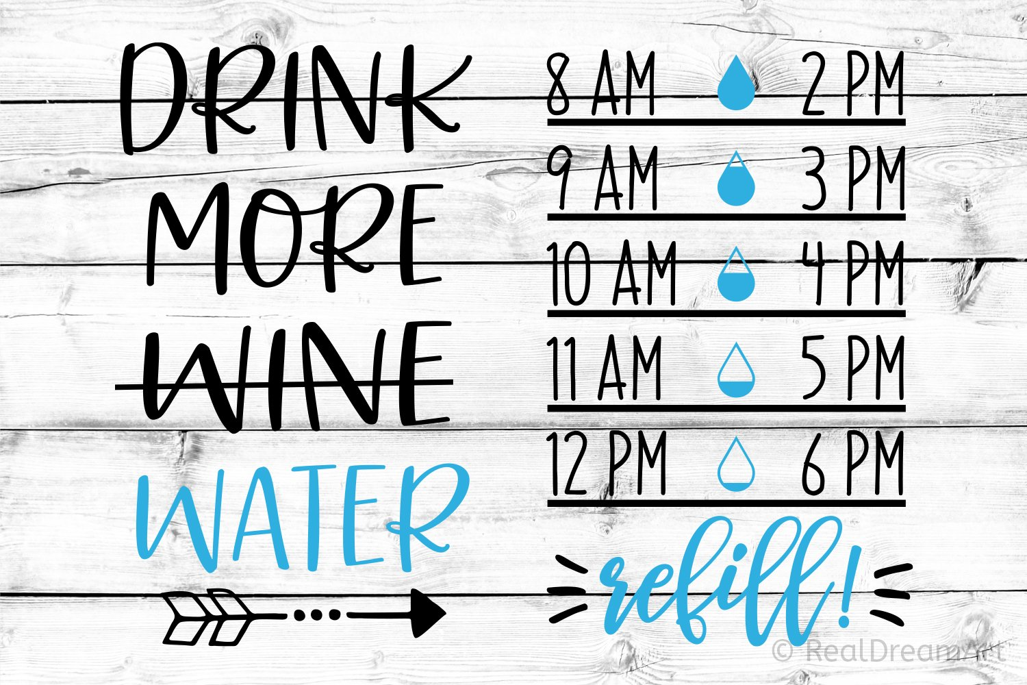 Drink More Wine Water/Water Tracker SVG, DXF, PNG, EPS example image 1