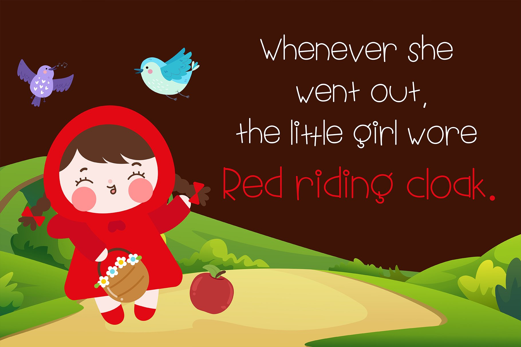 Little red riding hood Handwritten- cute kid font Kawaii example image 4