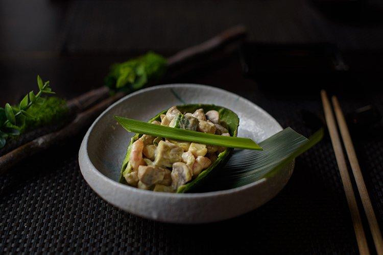 salad of prawns, mushrooms and avocado example image 1