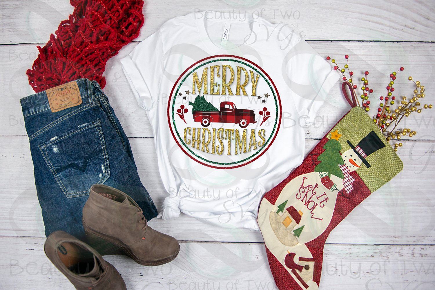 Merry Christmas Red Truck Sublimation Design png 300 dpi example image 2