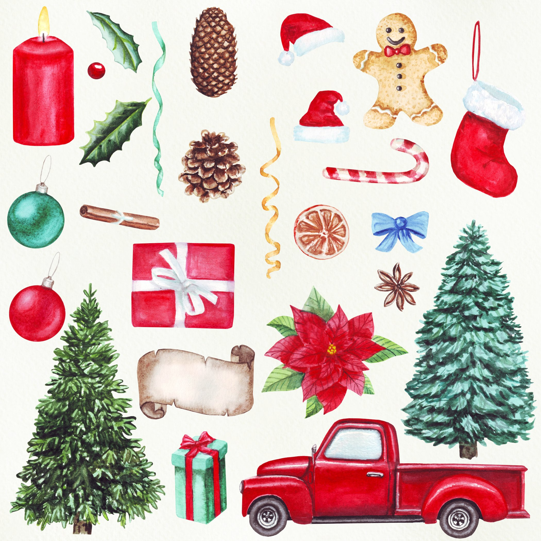 Watercolor Merry Christmas clipart png example image 3