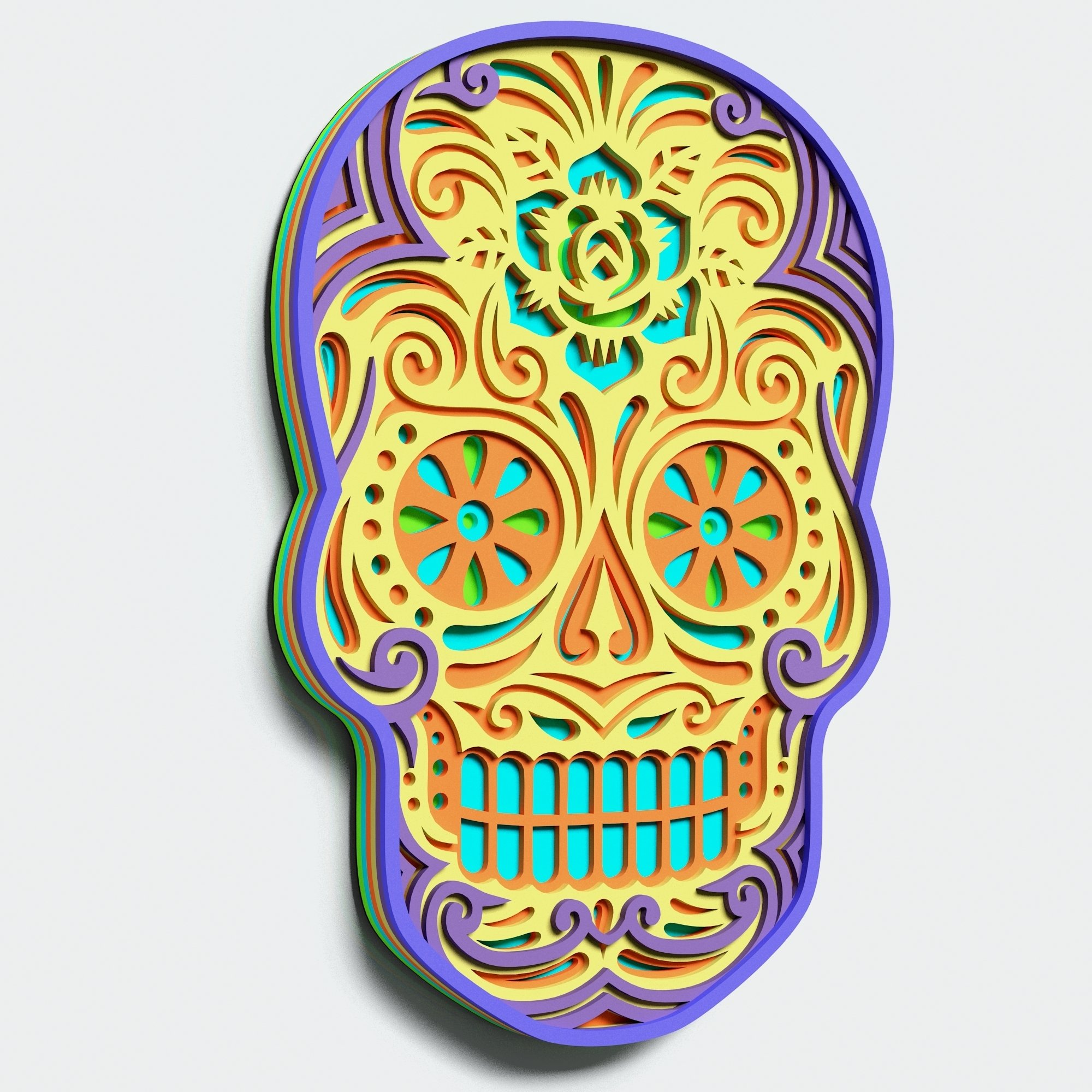 Multilayer Sugar Skull Mandala - S2, for cutting machines example image 7