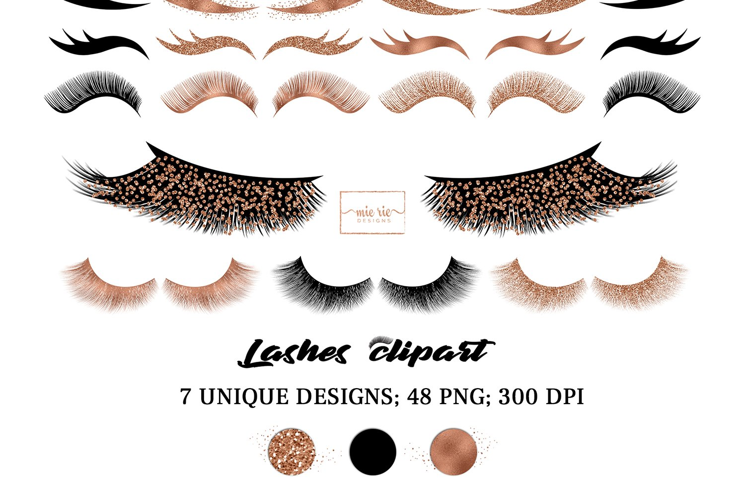 Set of rose gold foil, rose gold glitter and black lashes example image 1