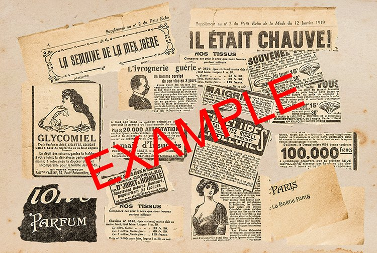 Newspaper pieces. French vintage magazine pages PSD example image 2