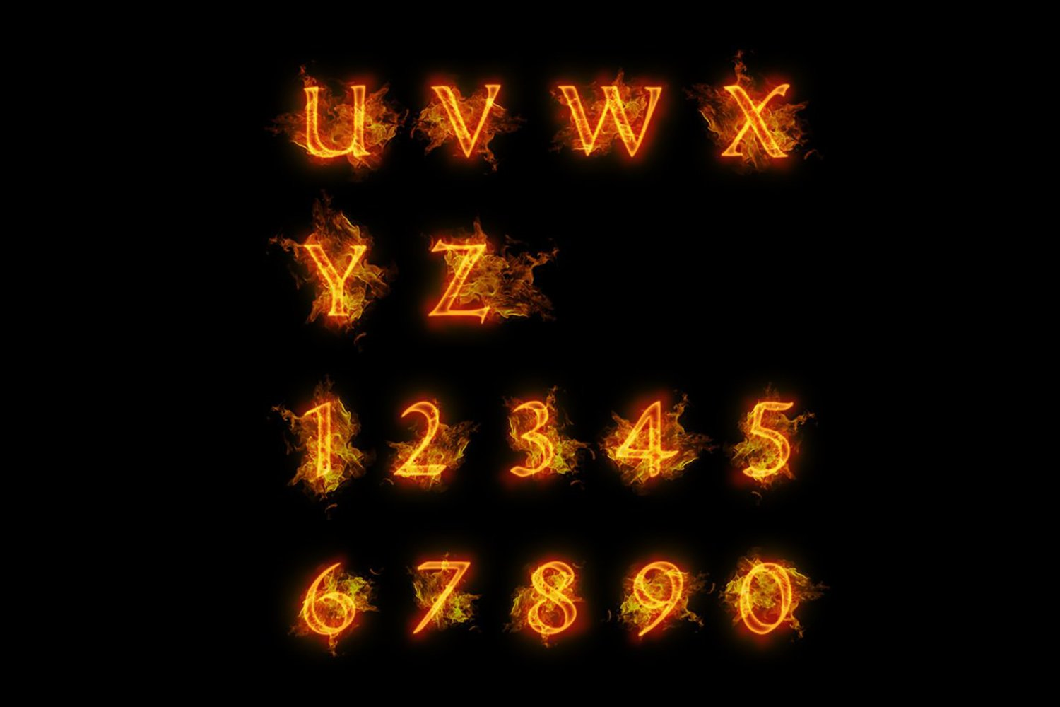 Fire font. Burning letters alphabet example image 3