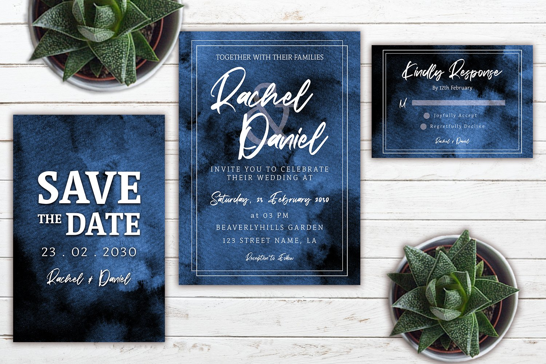 Abstract Indigo Blue Watercolor Wedding Invitation Set example image 3