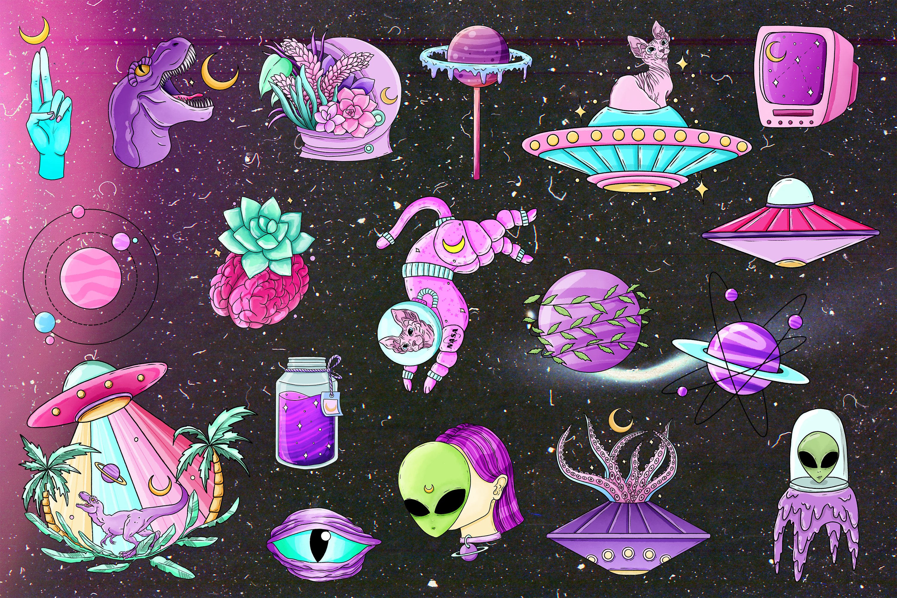 Alien clipart, Space clipart, Pastel goth clipart, UFO png example image 3