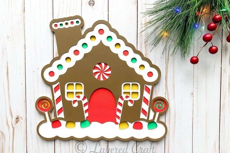 3d Layered Christmas Gingerbread House Digital Cut File 919781 Cut Files Design Bundles