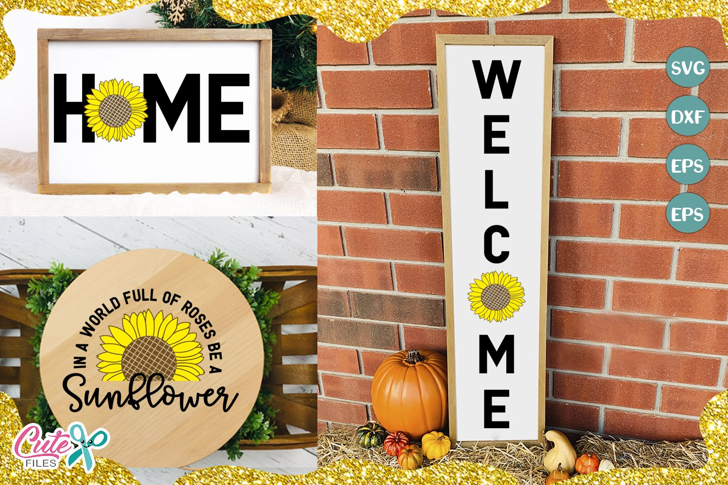 Sunflower welcome Svg cut files for crafters example image 1