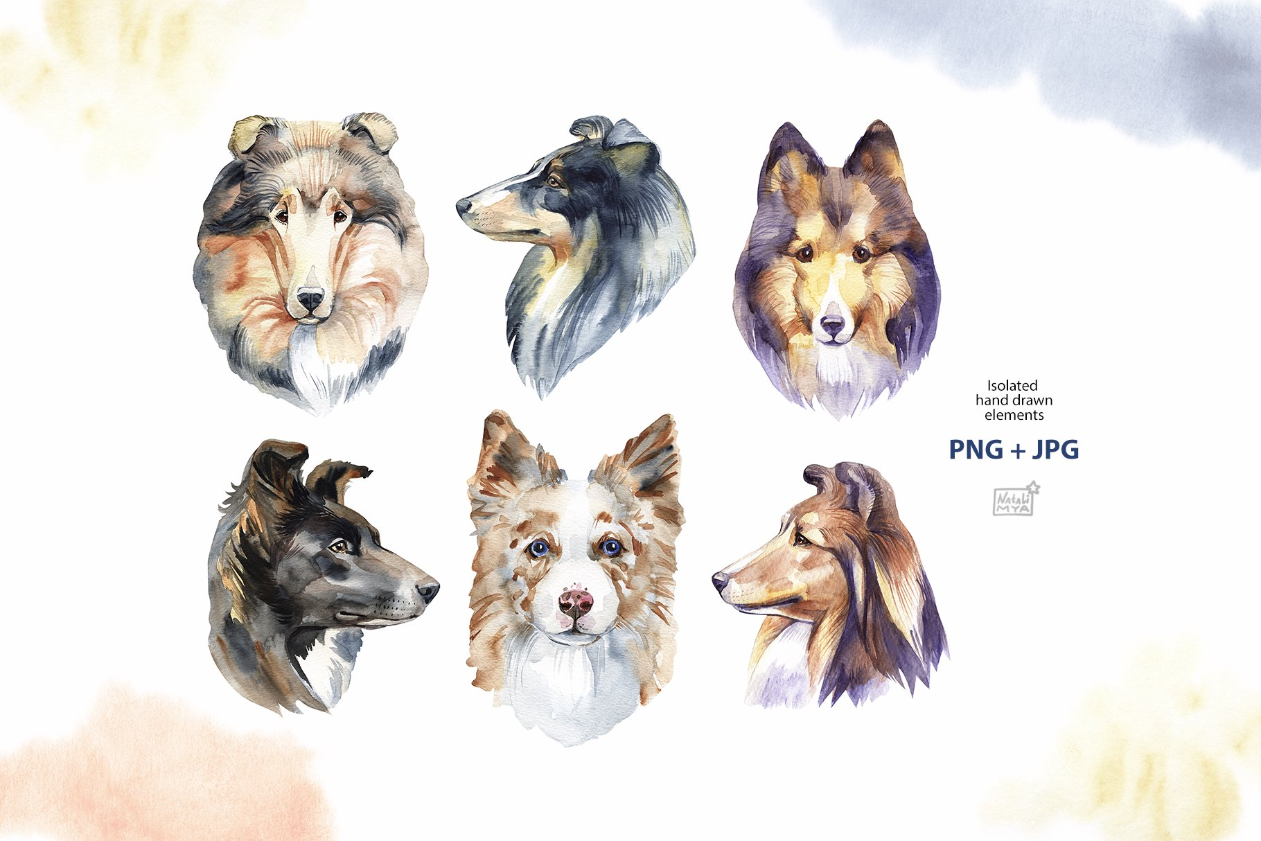 Watercolor herding dogs example image 7