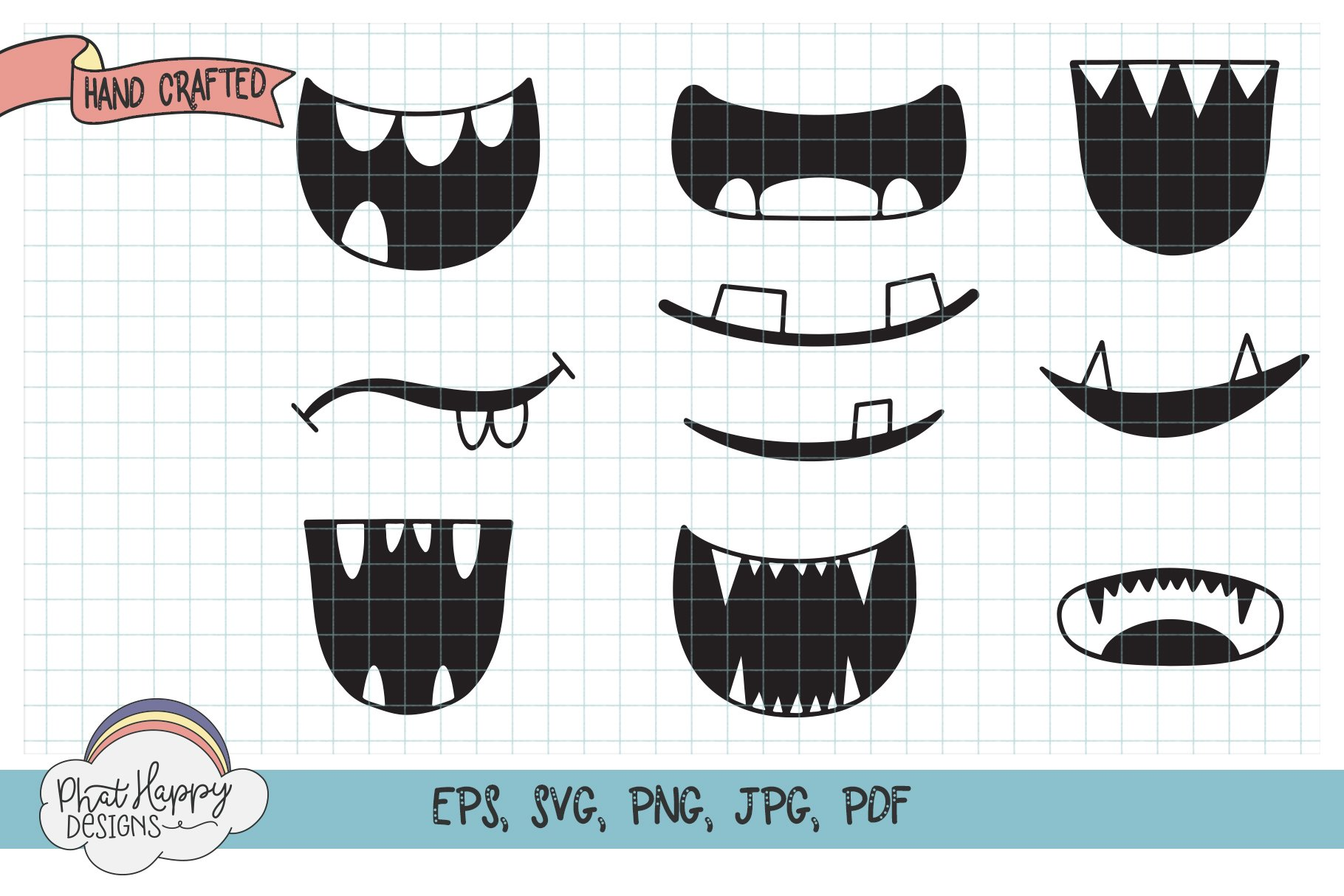 10 Monster Faces for Masks - SVG Cut Files example image 2