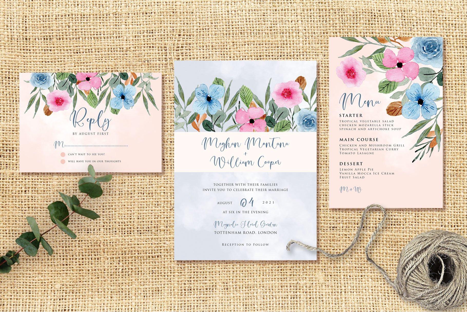Blue Pink Flower Wedding Invitation Set example image 2