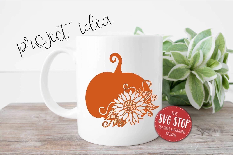 Pumpkin Sunflower Paper Cut Template Design example image 3