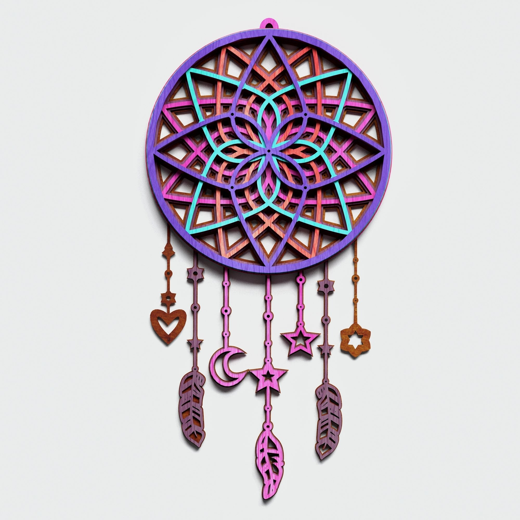 Dream Catcher Multilayer Mandala, Vector file for cutting example image 4