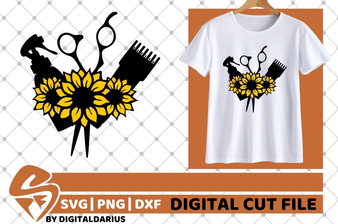 Hair Tools with sunflower svg, Hairstylist svg, Hairdresser example image 2