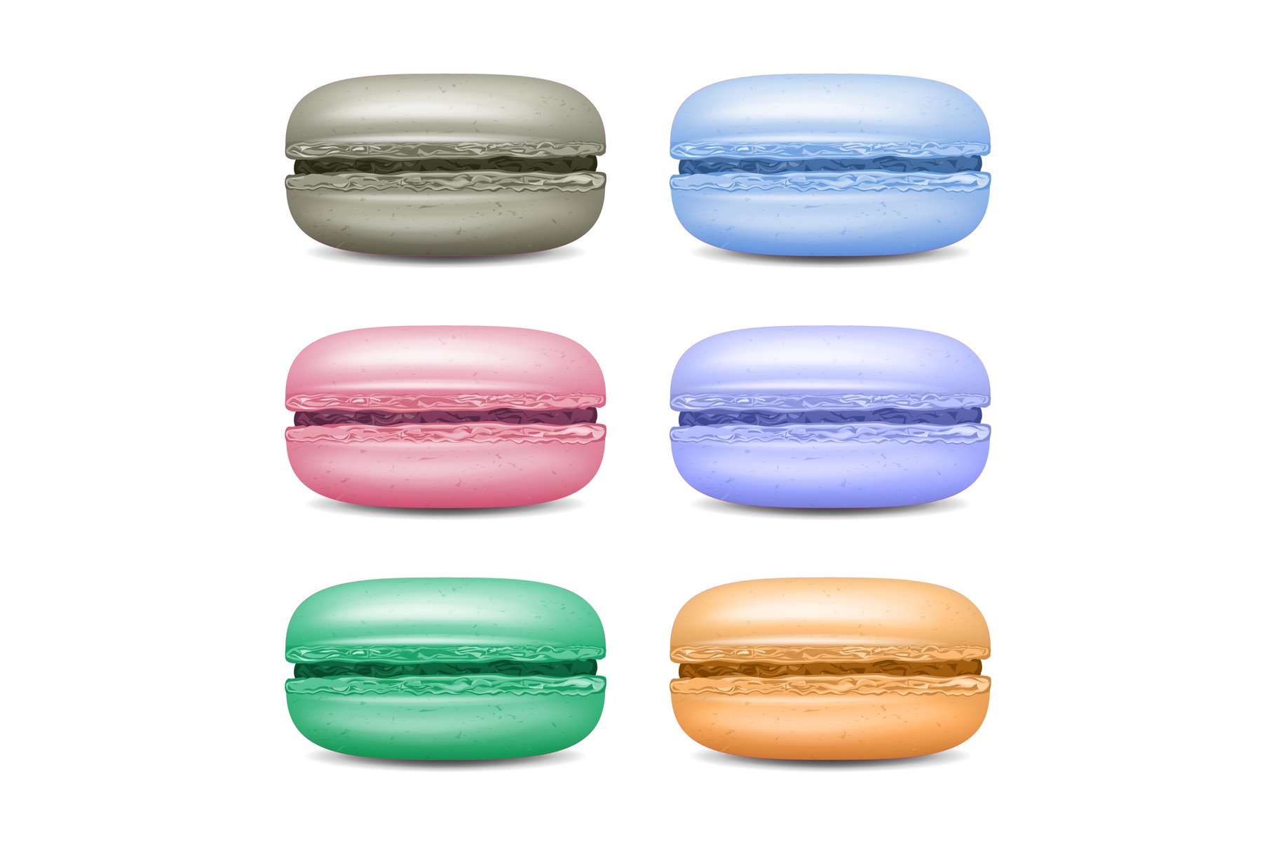 Realistic Macarons Set Vector. Detailed Colourful French example image 1