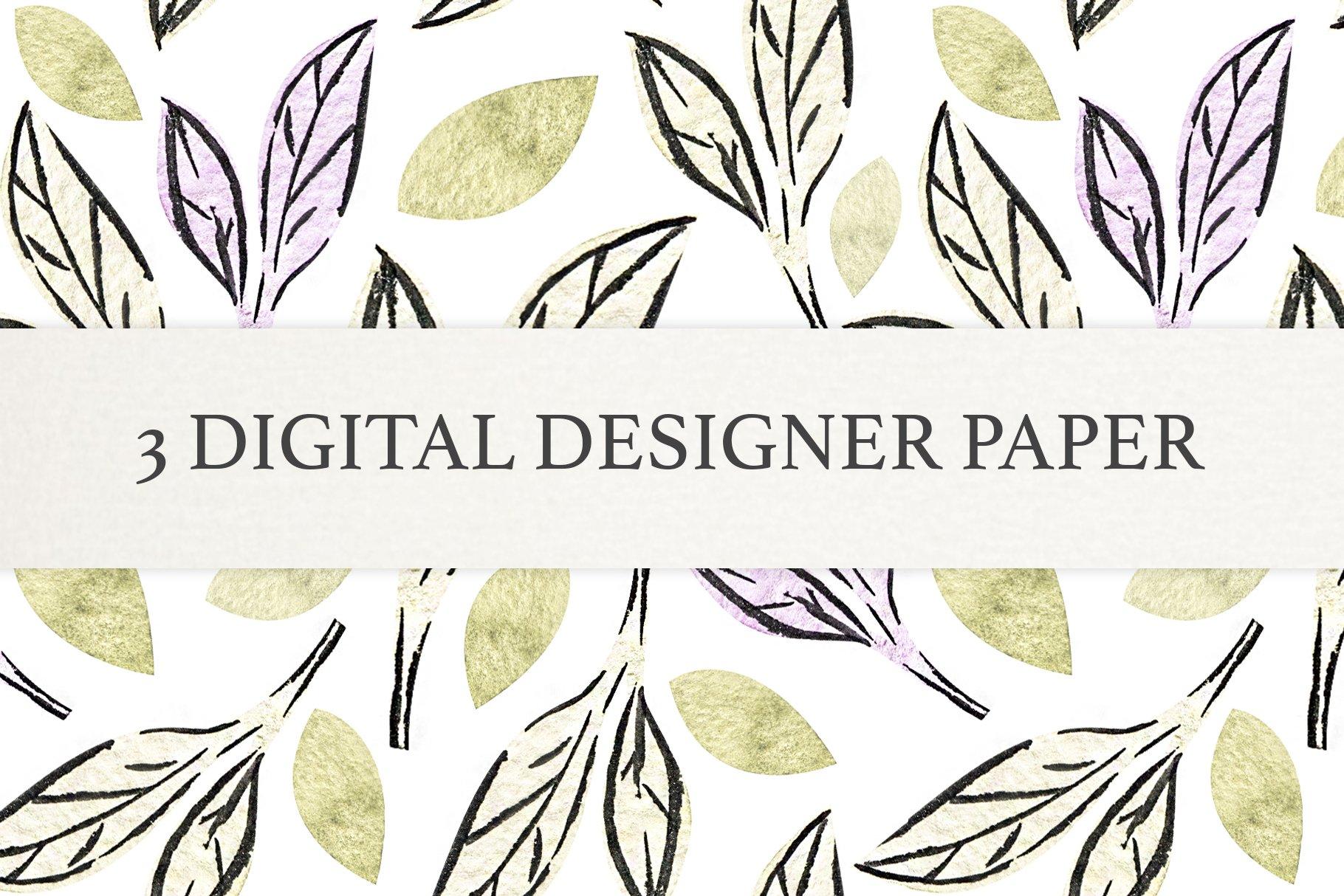 Watercolor Leaf Digital Scrapbook Paper, Seamless Patterns example image 3