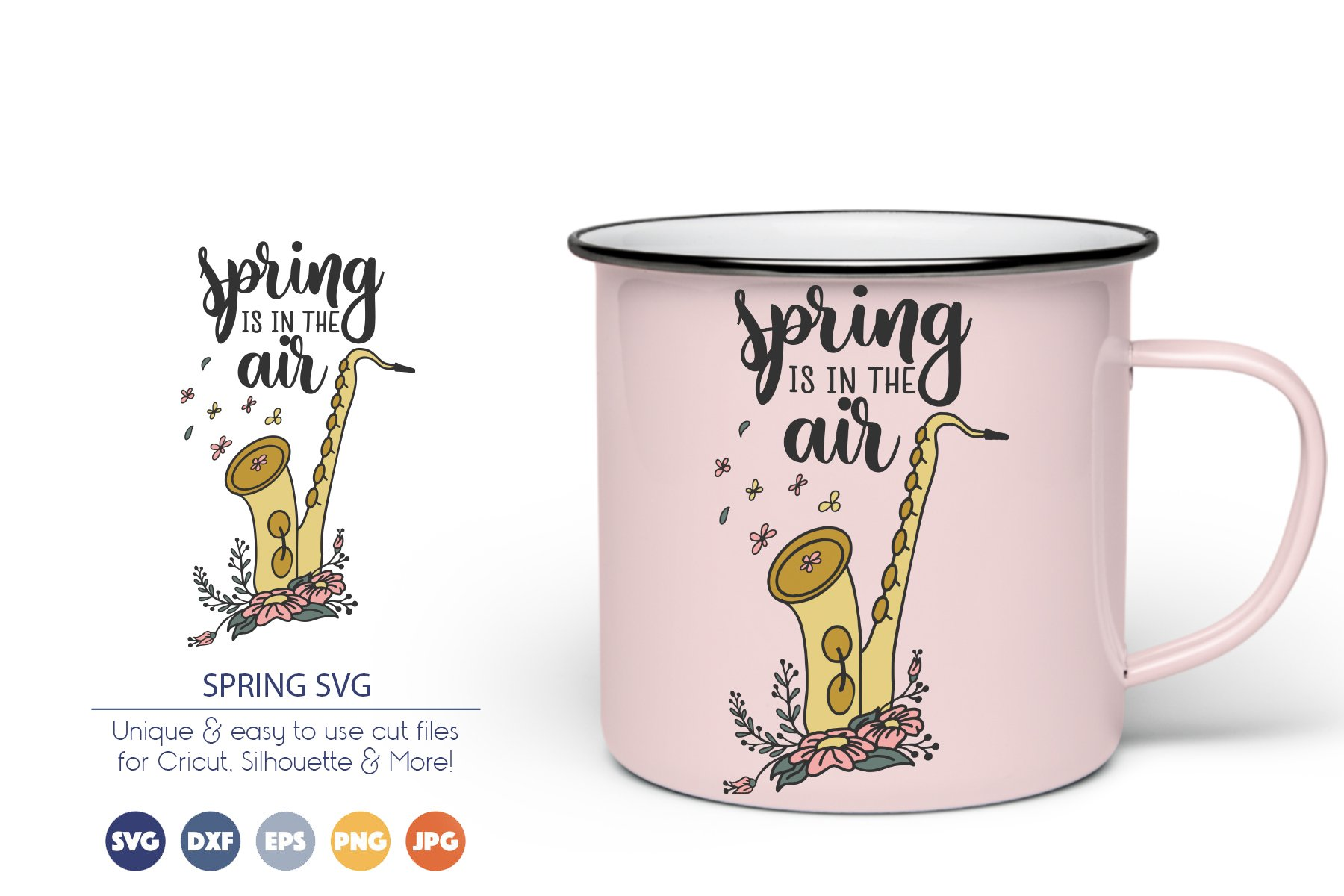 Saxophone SVG | Spring is in the Air SVG | Microphone SVG example image 1