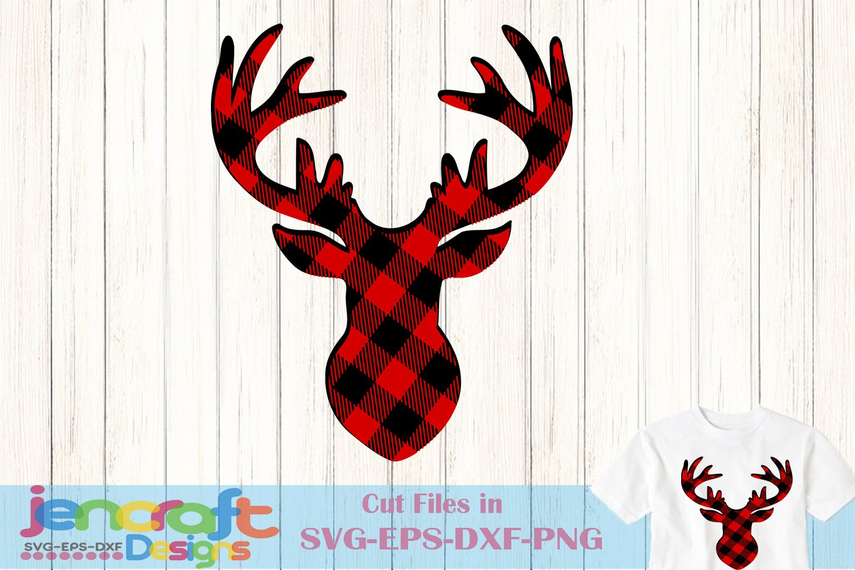 Buffalo Plaid Reindeer Svg Christmas Deer Svg Antlers Buck 158920 Svgs Design Bundles