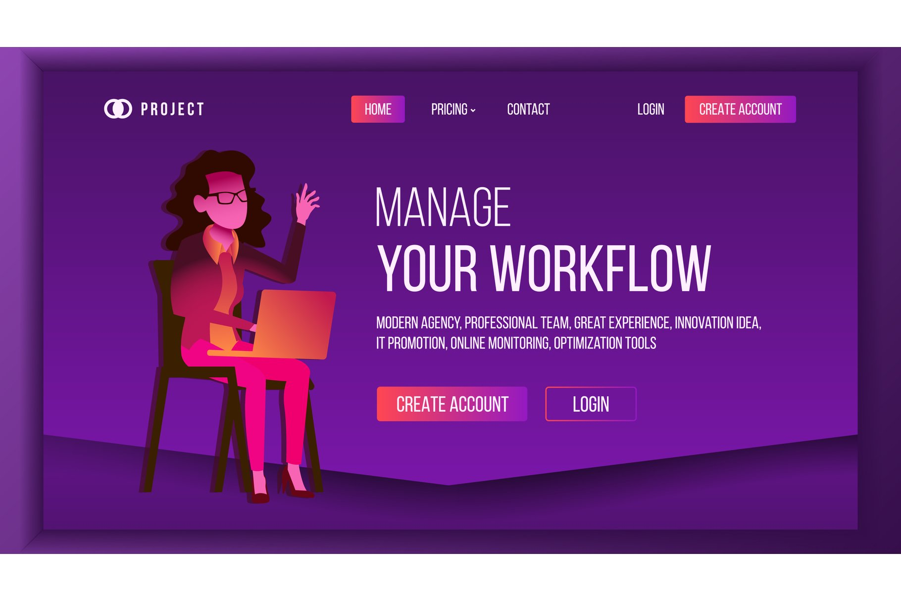 Workflow Business Landing Page Vector. Brainstorming example image 1