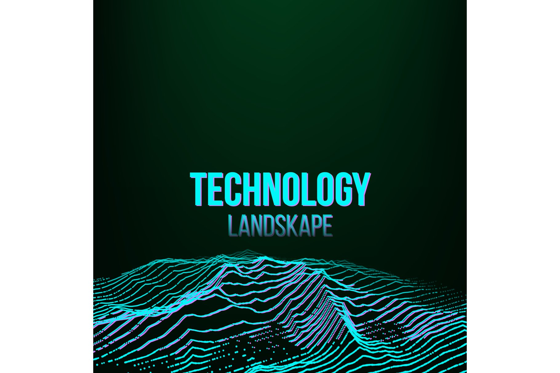 Abstract Digital Landscape Background Vector. Signal Noise. example image 1