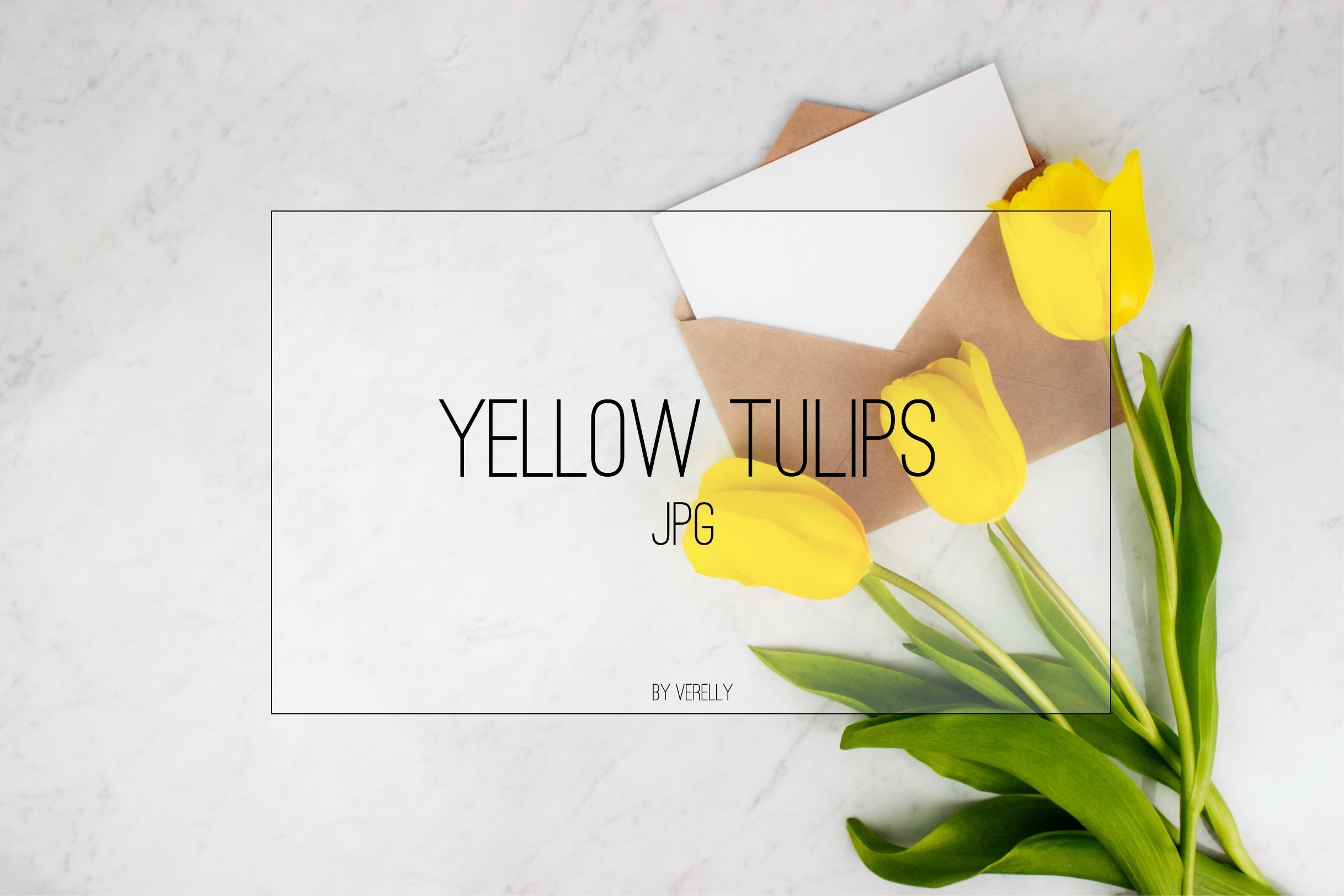 Yellow tulips with envelope and letter on marble background example image 1