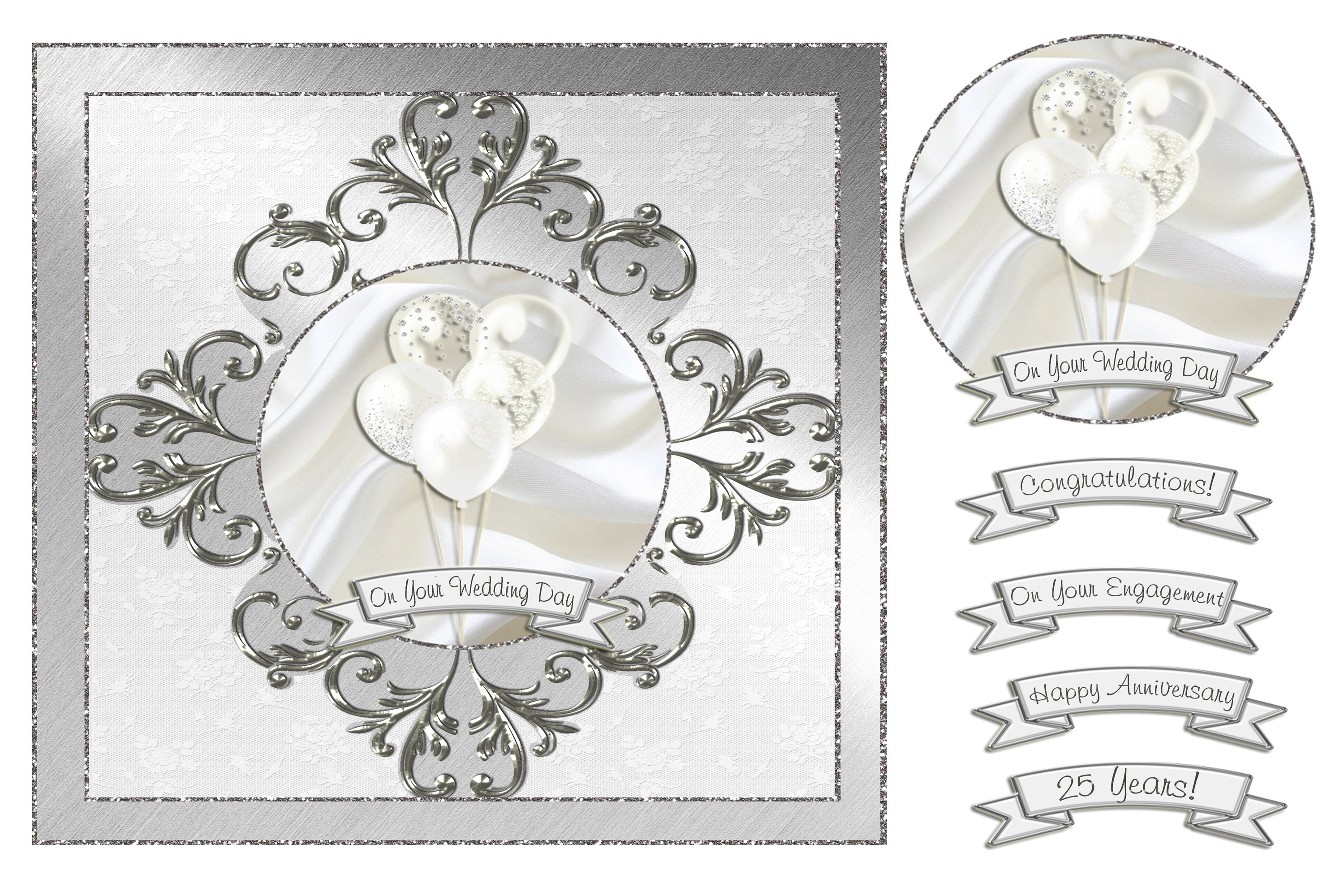Wedding & Anniversary Balloons Card Front - Silver example image 1