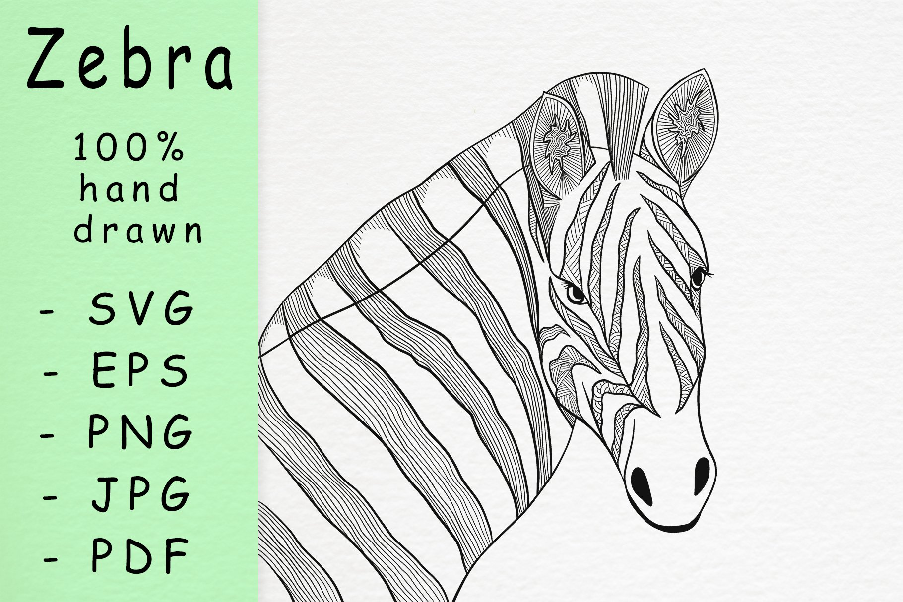 Hand drawn zebra head with patterns example image 1