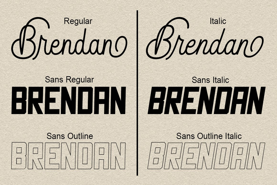 Brendan Combinations Font example image 3
