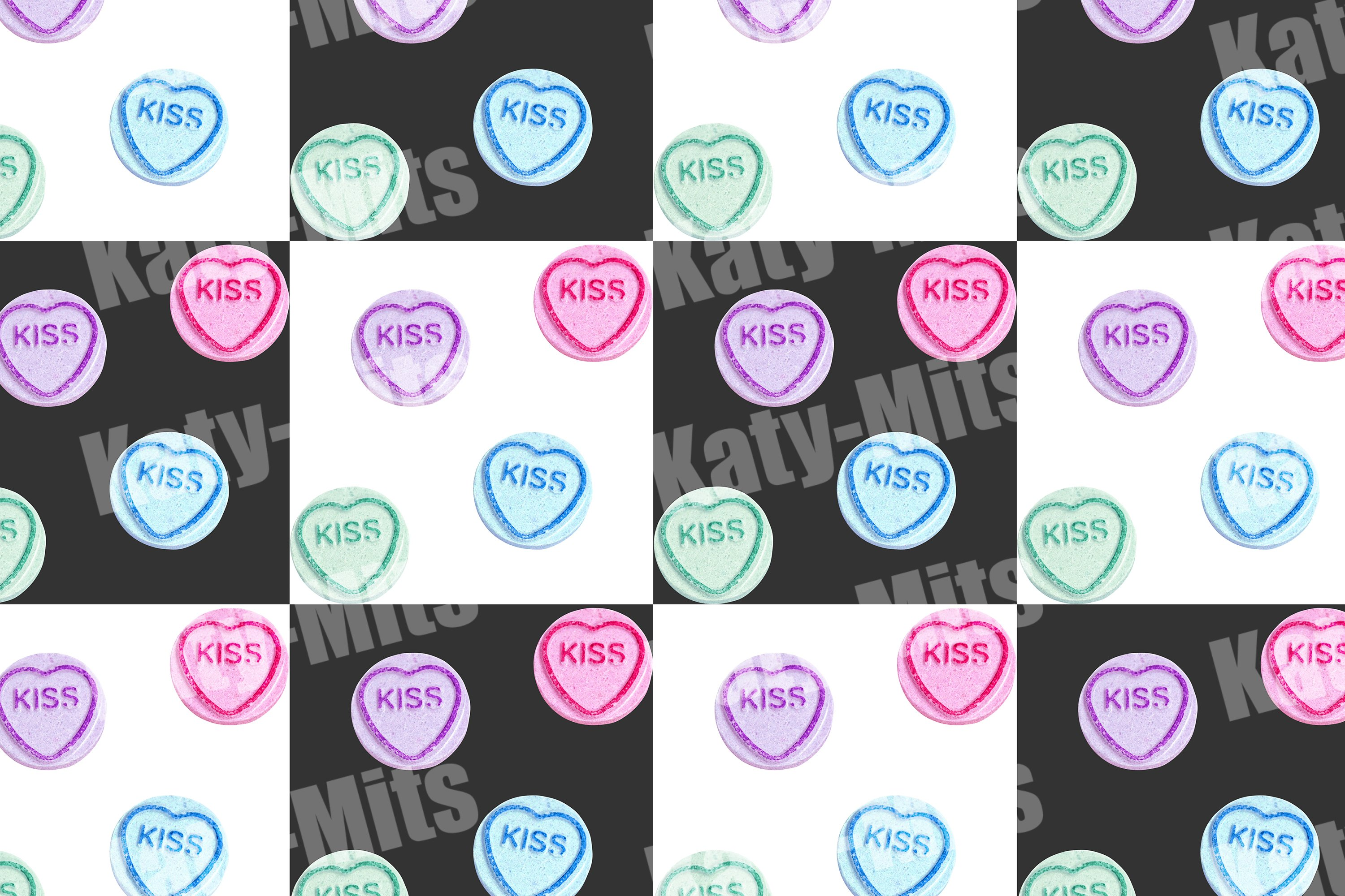 Two seamless candy patterns with the inscription kiss example image 3